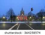 Stock photo hannover germany january rathaus hannover in winter at evening 364258574