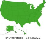green map of the united states... | Shutterstock .eps vector #36426322