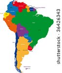 colorful south america map with ... | Shutterstock . vector #36426343