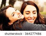 girl hugging her best friend.... | Shutterstock . vector #364277486