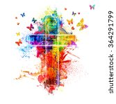 A Cross Created By Colorful...