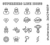 superhero line icons  mono... | Shutterstock .eps vector #364294859
