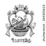 zen doodle easter eggs in... | Shutterstock .eps vector #364303613