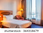 Stock photo bed and furniture for relaxation the bed room in hotel room 364318679