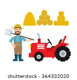 Farmer With Pitchfork Tractor...