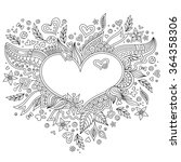 coloring page flower heart st... | Shutterstock .eps vector #364358306