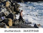 seascape man swims in the surf... | Shutterstock . vector #364359368