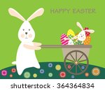 easter bunnies and easter eggs. ... | Shutterstock . vector #364364834