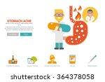 stomache ache health concept...   Shutterstock .eps vector #364378058