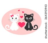 romantic cute couple kitten... | Shutterstock .eps vector #364393943