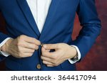 man in blue suit two buttons ...   Shutterstock . vector #364417094