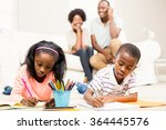 unhappy kids sitting on the... | Shutterstock . vector #364445576
