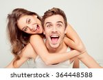 happy cute girl in love at home ... | Shutterstock . vector #364448588