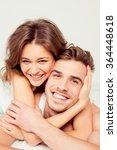happy girl in love at home... | Shutterstock . vector #364448618
