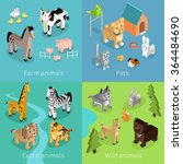 wild exotic and farm animal set ... | Shutterstock .eps vector #364484690