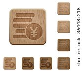 set of carved wooden yen coins...