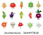 vector set of cute cartoon... | Shutterstock .eps vector #364497818