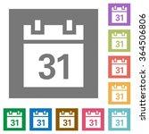 calendar flat icon set on color ...