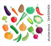 vegetables vector icon set... | Shutterstock .eps vector #364509404