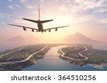 modern aircraft flies over the... | Shutterstock . vector #364510256