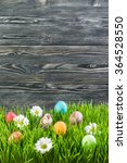 Easter Eggs In Grass With...
