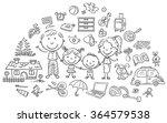 family life set  black and... | Shutterstock .eps vector #364579538