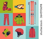 cool flat design vector skiing... | Shutterstock .eps vector #364593698