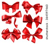 set of 6 red bow | Shutterstock .eps vector #364597460