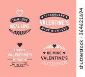 set of happy valentines day ... | Shutterstock .eps vector #364621694