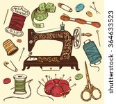 hand drawn set of sewing tools. ... | Shutterstock .eps vector #364633523
