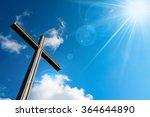 Christian Cross Against A Blue...