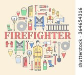 firefighter uniform and first... | Shutterstock .eps vector #364654316