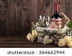 red wine bottle  two wine... | Shutterstock . vector #364662944