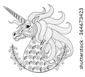 hand drawing unicorn for adult... | Shutterstock .eps vector #364673423