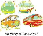 Retro Buses Vector Set (hand drawn) - stock vector