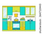 flat modern kitchen interior ... | Shutterstock .eps vector #364710443
