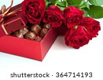 Stock photo gift box of chocolate truffles with red roses valentine s day wedding or birthday concept 364714193