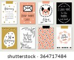 love collection with 8 cards.... | Shutterstock .eps vector #364717484