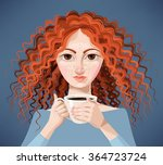 ginger girl with coffee | Shutterstock .eps vector #364723724