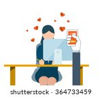 young couple sending love mail. ... | Shutterstock .eps vector #364733459