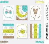 set of 6 romantic card... | Shutterstock .eps vector #364734674