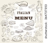 italian food set. hand drawn... | Shutterstock .eps vector #364737353