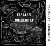 italian food set. hand drawn... | Shutterstock .eps vector #364737470