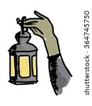 old lantern in the hands of man | Shutterstock .eps vector #364745750