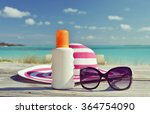 hat  sunglasses and sun lotion. ... | Shutterstock . vector #364754090