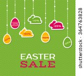 easter sale poster with hanging ... | Shutterstock .eps vector #364763828