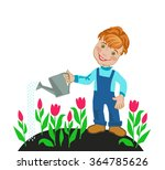 cheerful boy watering from a... | Shutterstock .eps vector #364785626
