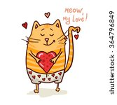 Stock vector cute cat in love romantic vector illustration 364796849