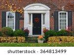 Front Door Of House In Fall
