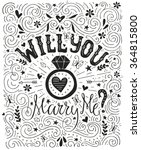 will you marry me   handdrawn... | Shutterstock .eps vector #364815800